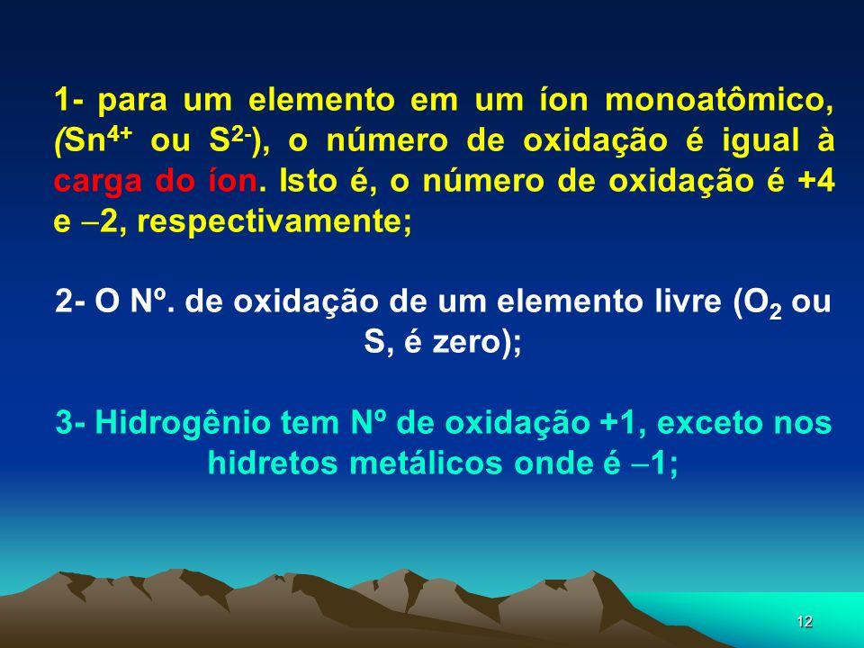 2- O Nº. de oxidação de um elemento livre (O2 ou S, é zero);