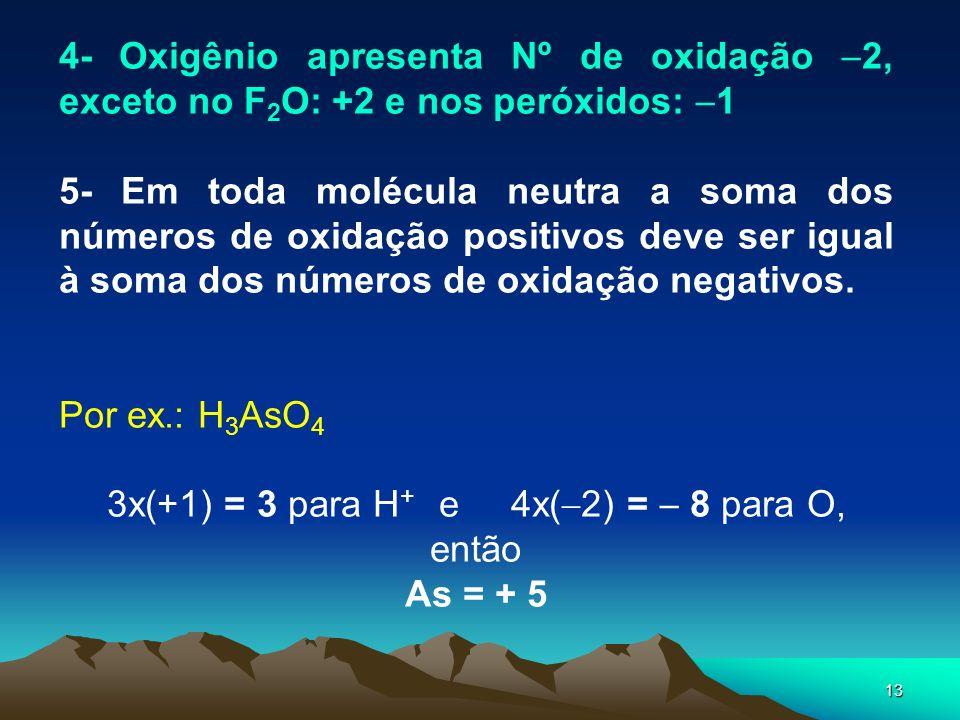 3x(+1) = 3 para H+ e 4x(2) =  8 para O, então