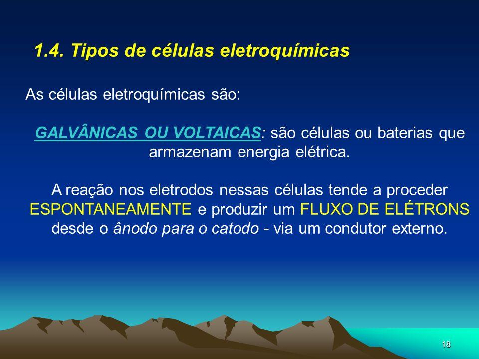 1.4. Tipos de células eletroquímicas