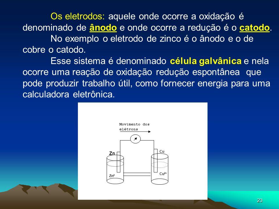 No exemplo o eletrodo de zinco é o ânodo e o de cobre o catodo.