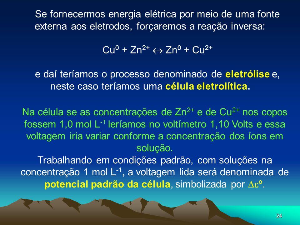 Se fornecermos energia elétrica por meio de uma fonte externa aos eletrodos, forçaremos a reação inversa: