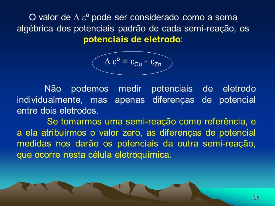 O valor de  º pode ser considerado como a soma algébrica dos potenciais padrão de cada semi-reação, os potenciais de eletrodo:
