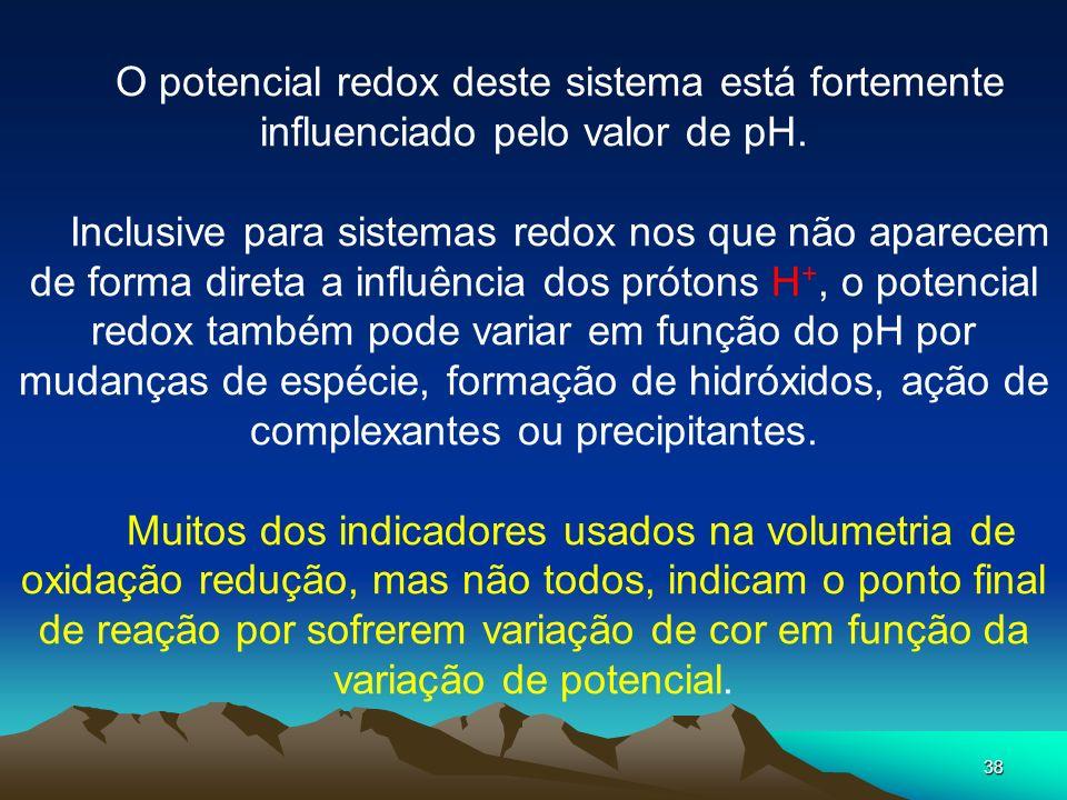 O potencial redox deste sistema está fortemente influenciado pelo valor de pH.