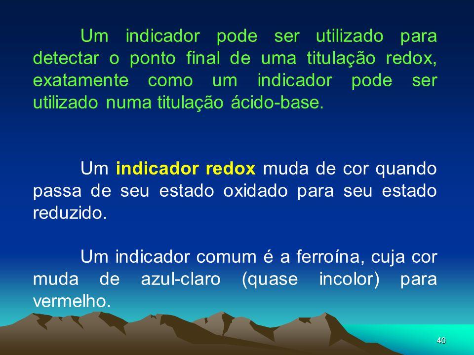 Um indicador pode ser utilizado para detectar o ponto final de uma titulação redox, exatamente como um indicador pode ser utilizado numa titulação ácido-base.