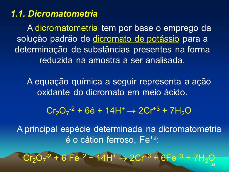 Cr2O7-2 + 6 Fe+2 + 14H+  2Cr+3 + 6Fe+3 + 7H2O