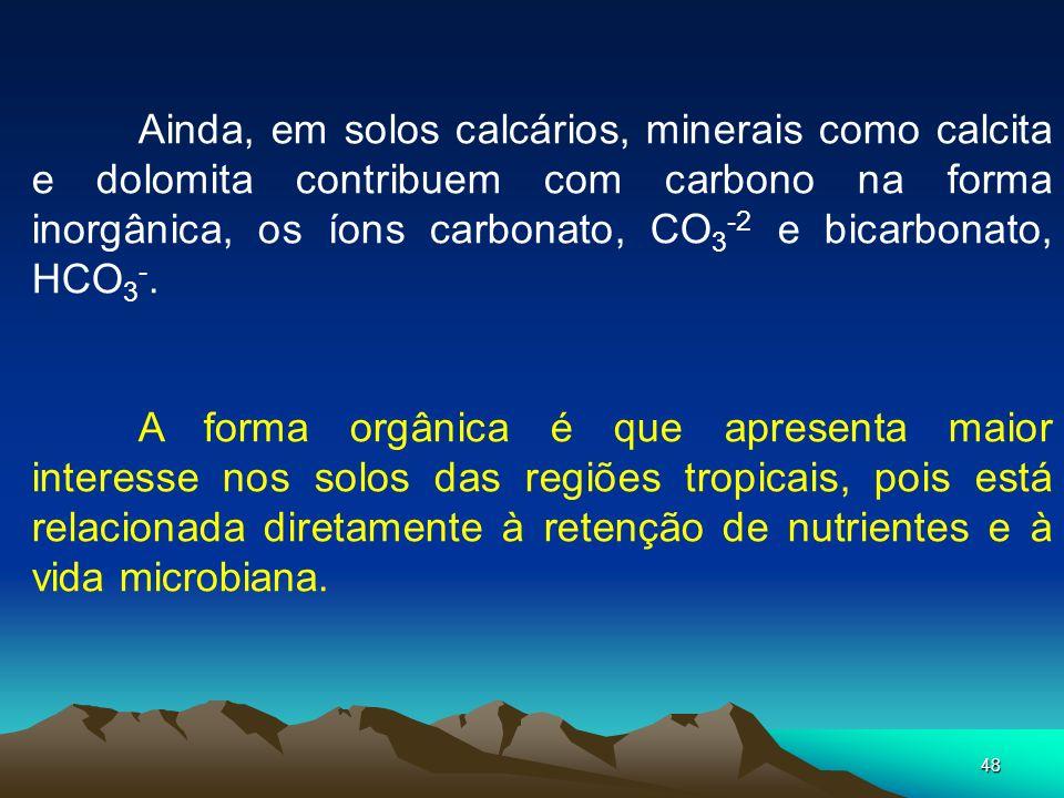 Ainda, em solos calcários, minerais como calcita e dolomita contribuem com carbono na forma inorgânica, os íons carbonato, CO3-2 e bicarbonato, HCO3-.