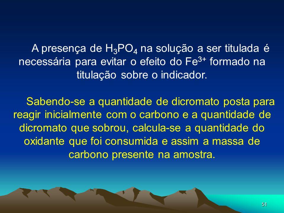 A presença de H3PO4 na solução a ser titulada é necessária para evitar o efeito do Fe3+ formado na titulação sobre o indicador.