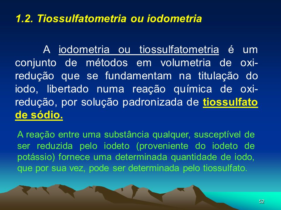 1.2. Tiossulfatometria ou iodometria