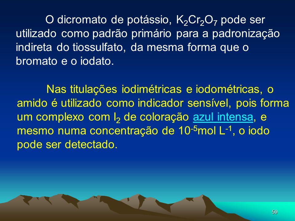 O dicromato de potássio, K2Cr2O7 pode ser utilizado como padrão primário para a padronização indireta do tiossulfato, da mesma forma que o bromato e o iodato.