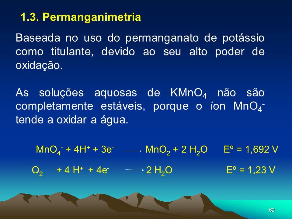 1.3. Permanganimetria Baseada no uso do permanganato de potássio como titulante, devido ao seu alto poder de oxidação.