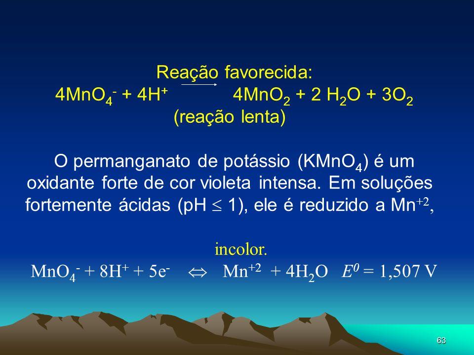 4MnO4- + 4H+ 4MnO2 + 2 H2O + 3O2 (reação lenta)