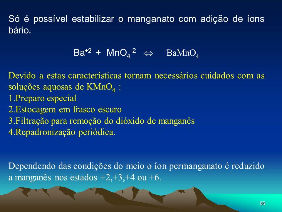 Só é possível estabilizar o manganato com adição de íons bário.