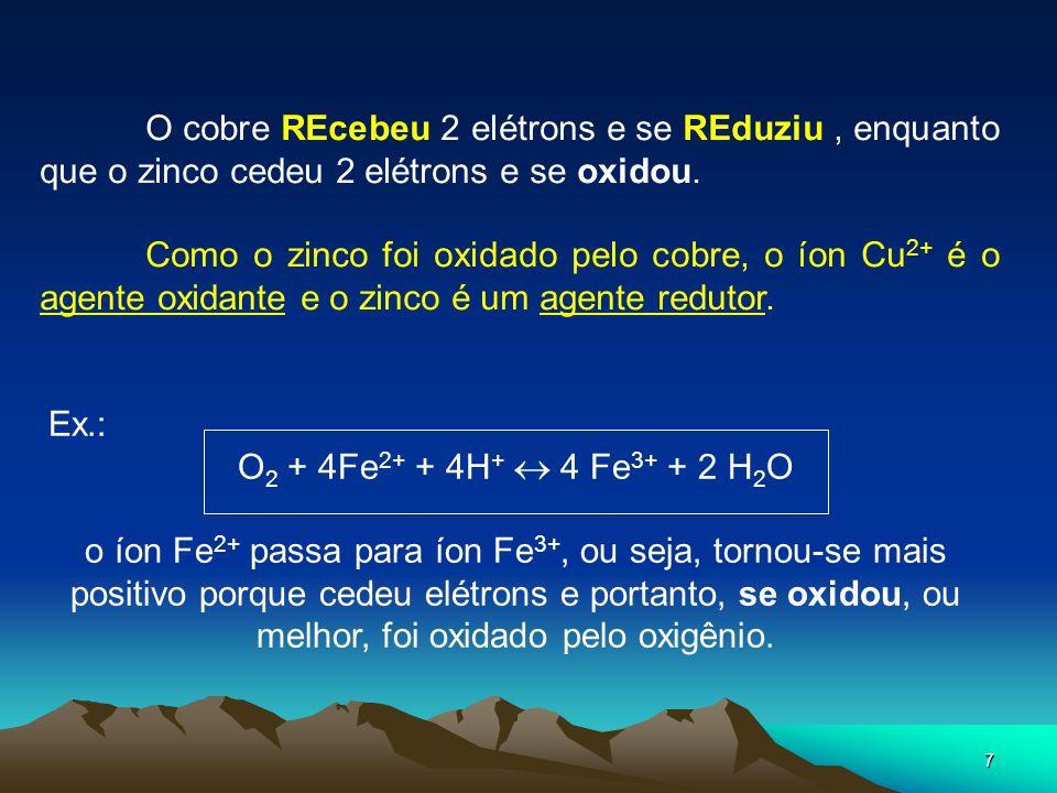 O cobre REcebeu 2 elétrons e se REduziu , enquanto que o zinco cedeu 2 elétrons e se oxidou.