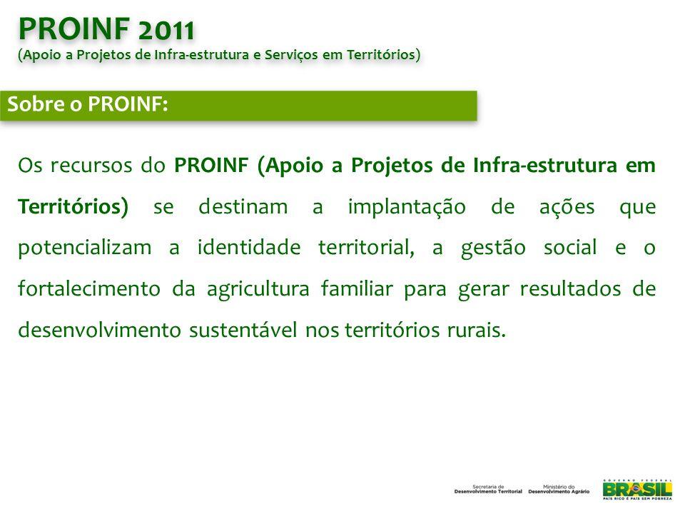 PROINF 2011 (Apoio a Projetos de Infra-estrutura e Serviços em Territórios) Sobre o PROINF: