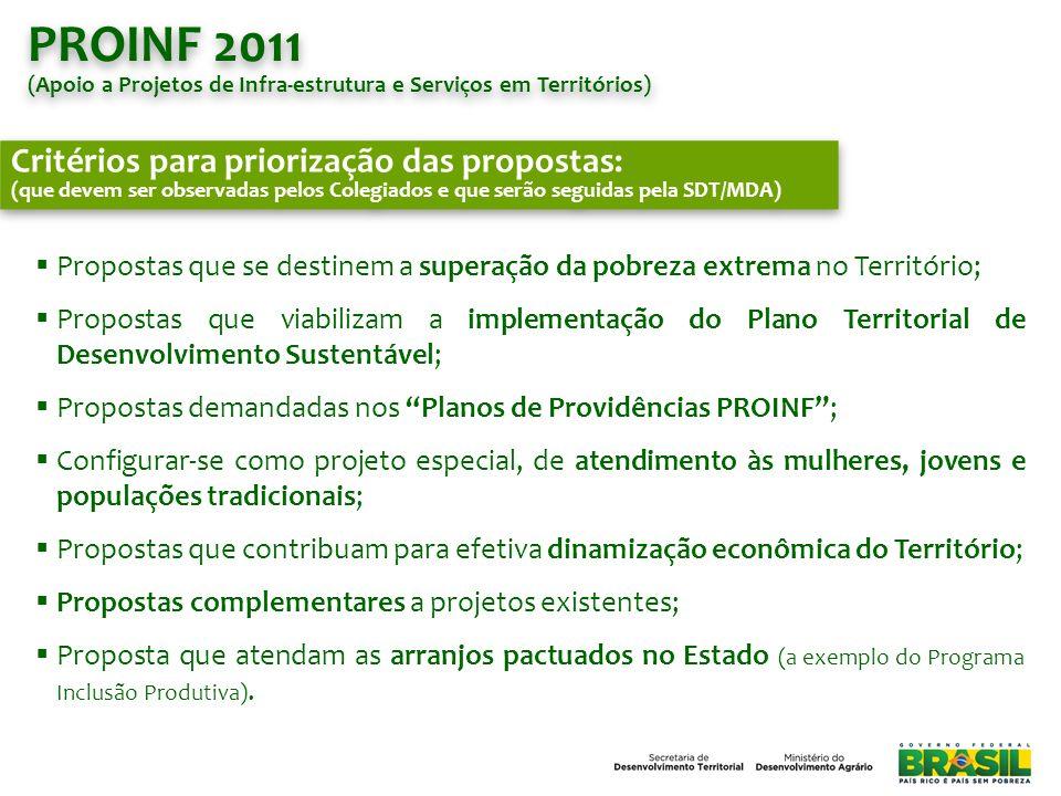 PROINF 2011 Critérios para priorização das propostas: