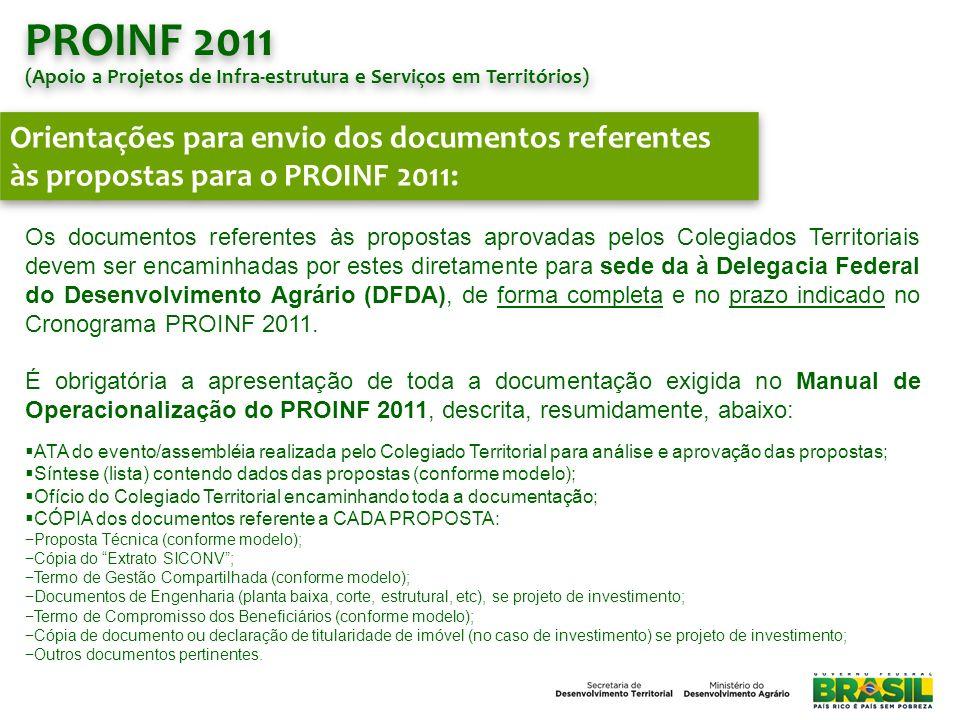 PROINF 2011 (Apoio a Projetos de Infra-estrutura e Serviços em Territórios)