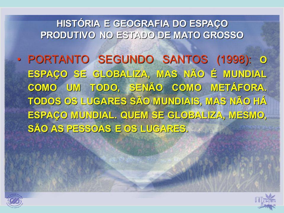 HISTÓRIA E GEOGRAFIA DO ESPAÇO PRODUTIVO NO ESTADO DE MATO GROSSO