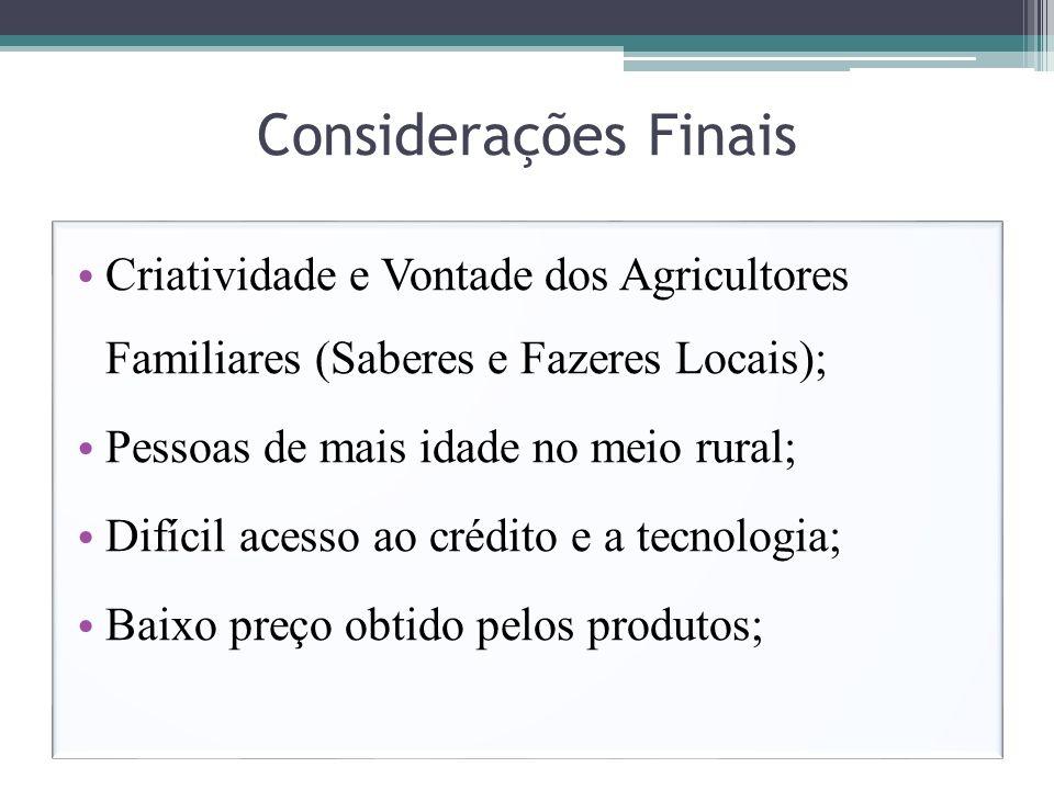 Considerações Finais Criatividade e Vontade dos Agricultores Familiares (Saberes e Fazeres Locais);