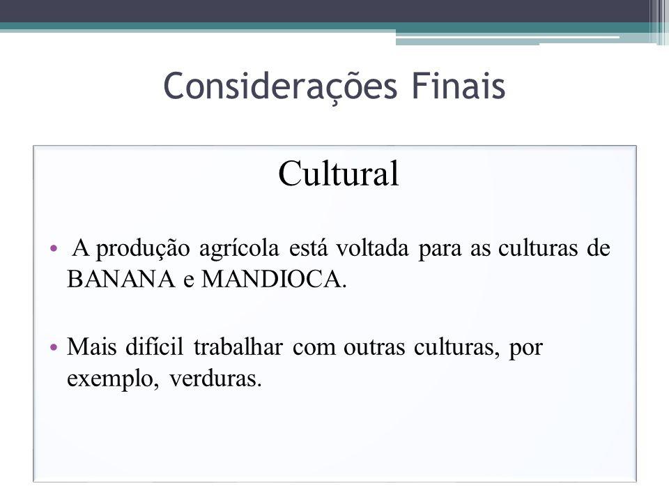 Considerações Finais Cultural