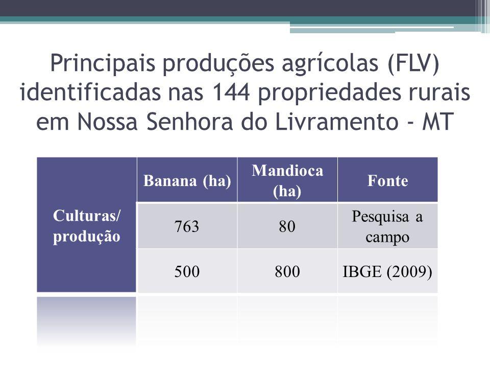 Principais produções agrícolas (FLV) identificadas nas 144 propriedades rurais em Nossa Senhora do Livramento - MT