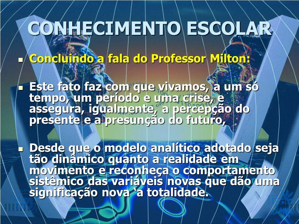 CONHECIMENTO ESCOLAR Concluindo a fala do Professor Milton: