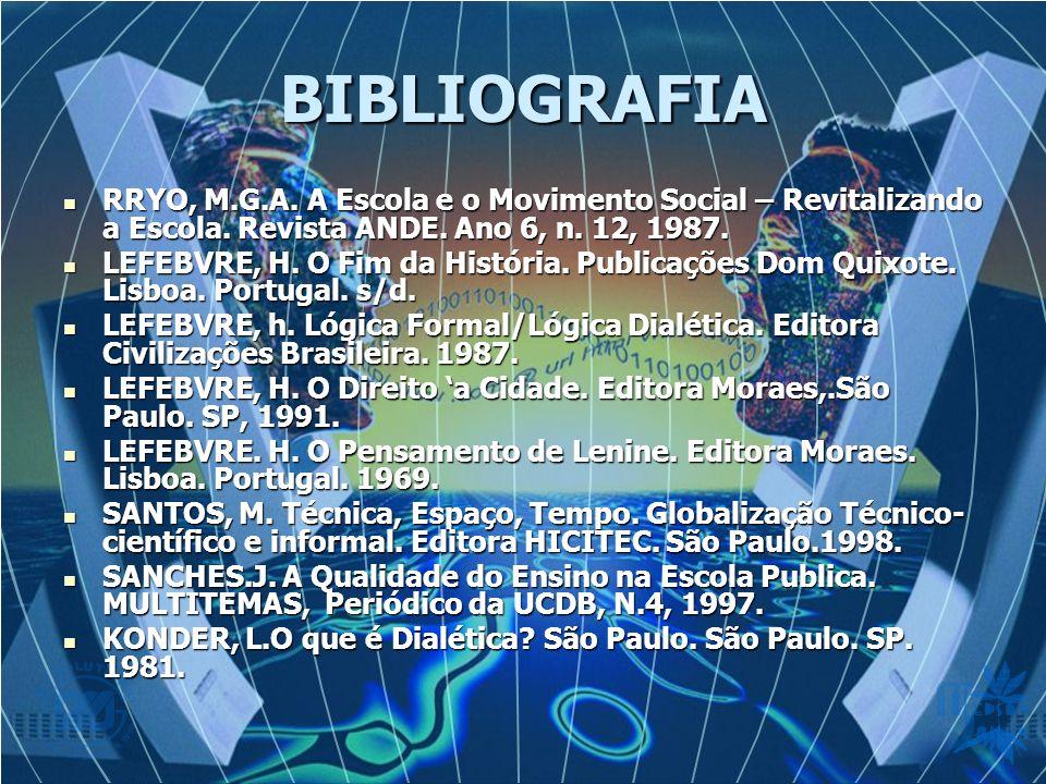 BIBLIOGRAFIA RRYO, M.G.A. A Escola e o Movimento Social – Revitalizando a Escola. Revista ANDE. Ano 6, n. 12, 1987.