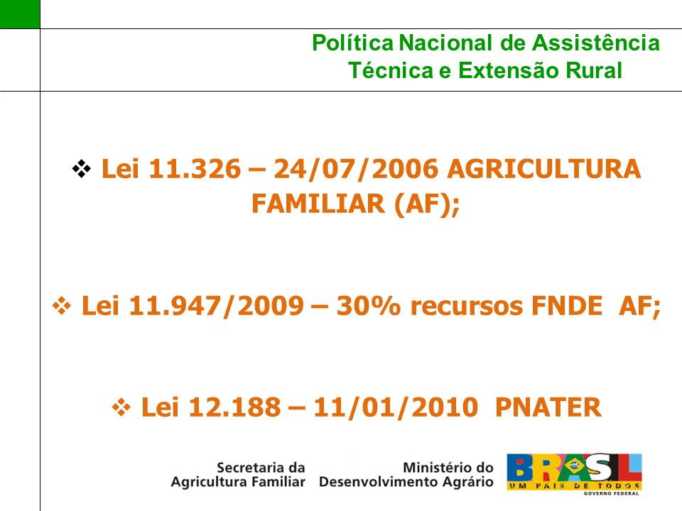 Lei 11.326 – 24/07/2006 AGRICULTURA FAMILIAR (AF);