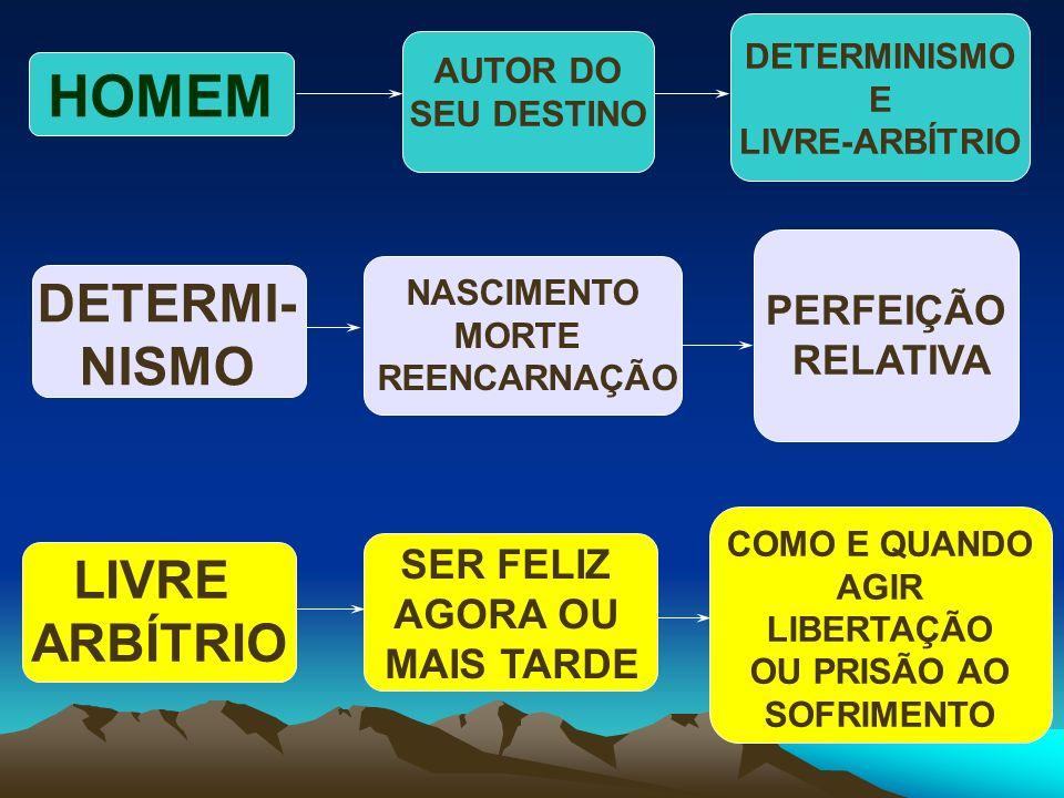 HOMEM DETERMI- NISMO LIVRE ARBÍTRIO PERFEIÇÃO RELATIVA SER FELIZ
