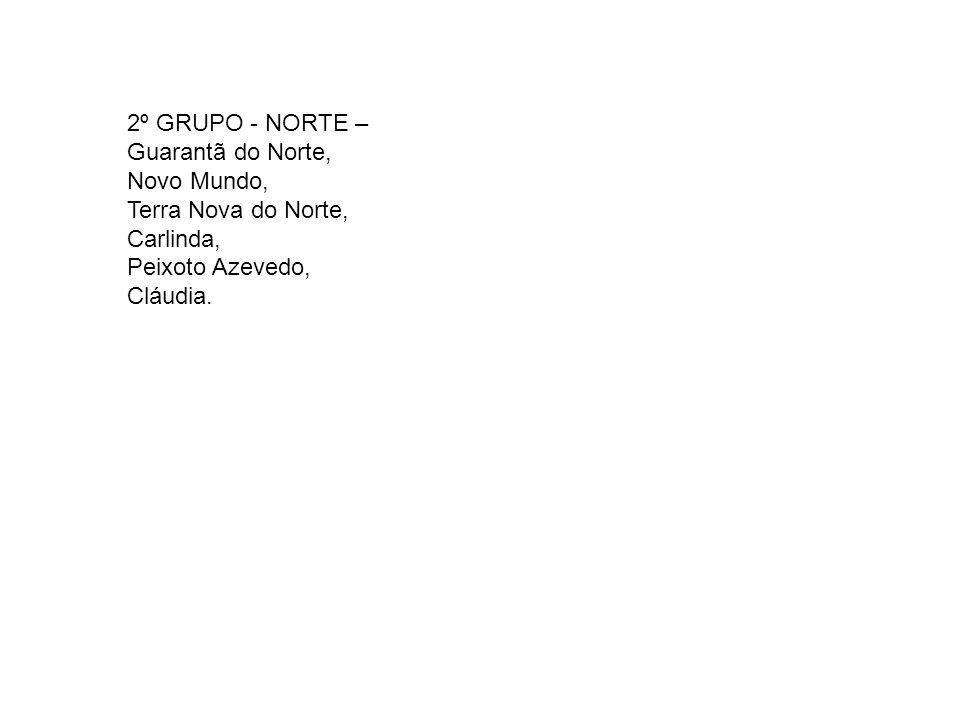 2º GRUPO - NORTE –Guarantã do Norte, Novo Mundo, Terra Nova do Norte, Carlinda, Peixoto Azevedo, Cláudia.