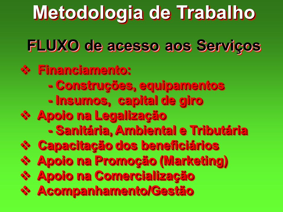Metodologia de Trabalho FLUXO de acesso aos Serviços