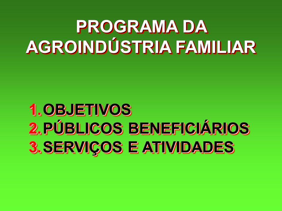 PROGRAMA DA AGROINDÚSTRIA FAMILIAR