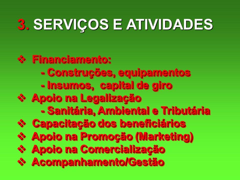3. SERVIÇOS E ATIVIDADES Financiamento: - Construções, equipamentos