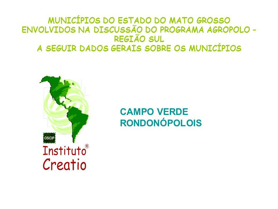 CAMPO VERDE RONDONÓPOLOIS MUNICÍPIOS DO ESTADO DO MATO GROSSO
