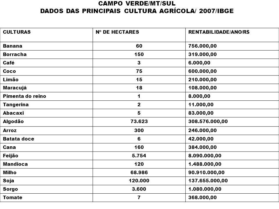 DADOS DAS PRINCIPAIS CULTURA AGRÍCOLA/ 2007/IBGE