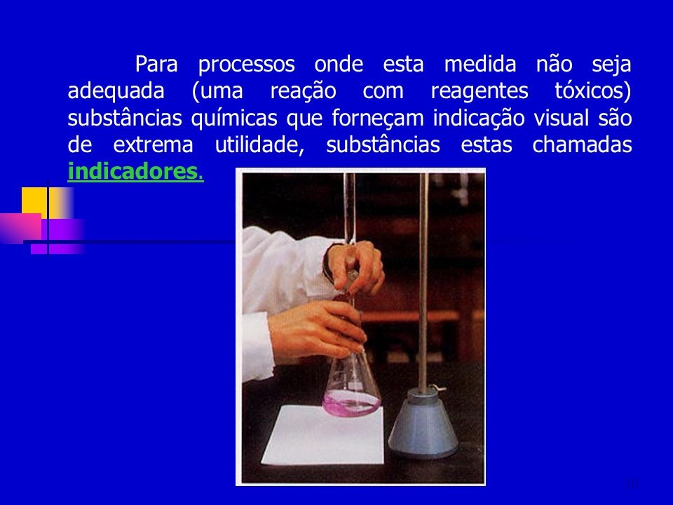 Para processos onde esta medida não seja adequada (uma reação com reagentes tóxicos) substâncias químicas que forneçam indicação visual são de extrema utilidade, substâncias estas chamadas indicadores.