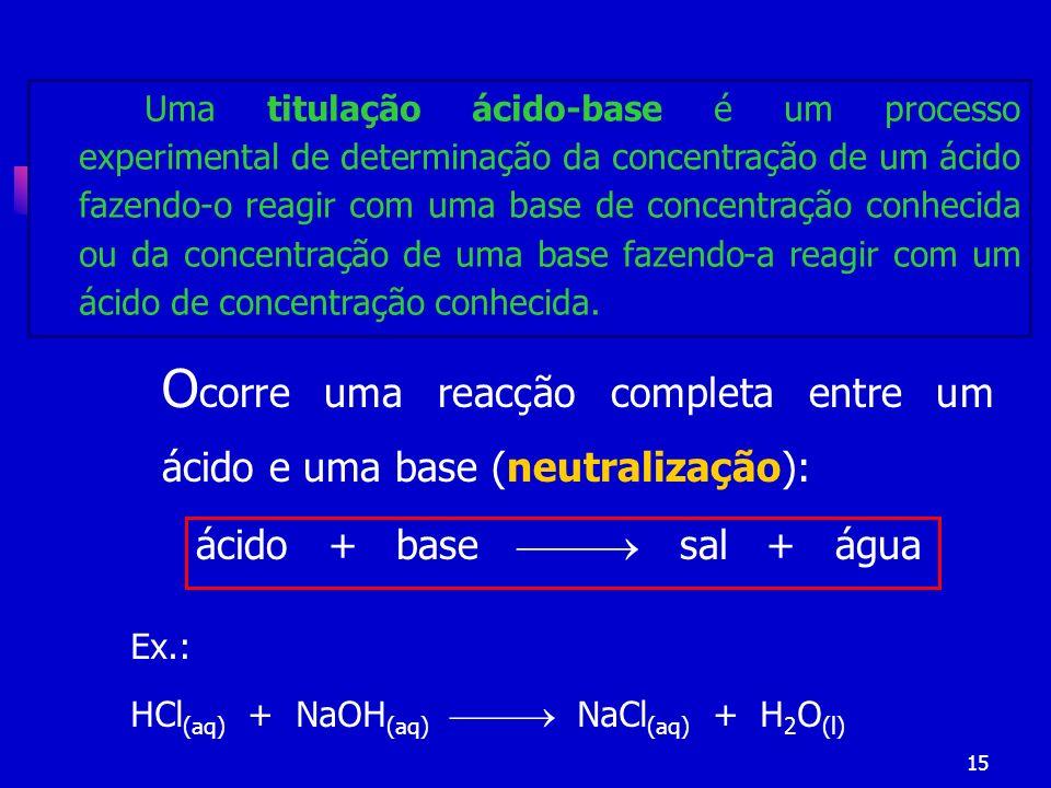ácido + base  sal + água