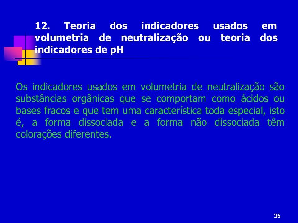 12. Teoria dos indicadores usados em volumetria de neutralização ou teoria dos indicadores de pH
