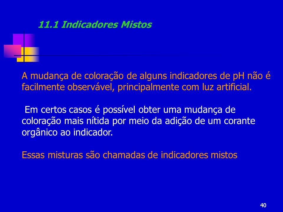 11.1 Indicadores Mistos A mudança de coloração de alguns indicadores de pH não é facilmente observável, principalmente com luz artificial.