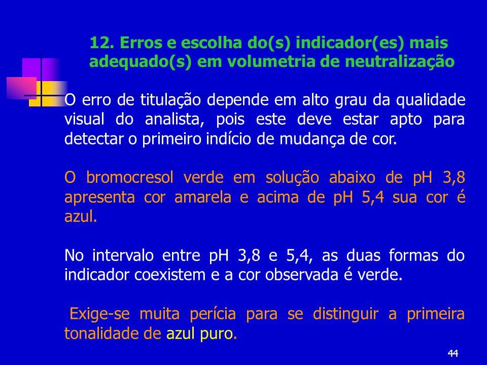 12. Erros e escolha do(s) indicador(es) mais adequado(s) em volumetria de neutralização