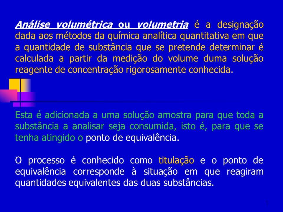 Análise volumétrica ou volumetria é a designação dada aos métodos da química analítica quantitativa em que a quantidade de substância que se pretende determinar é calculada a partir da medição do volume duma solução reagente de concentração rigorosamente conhecida.