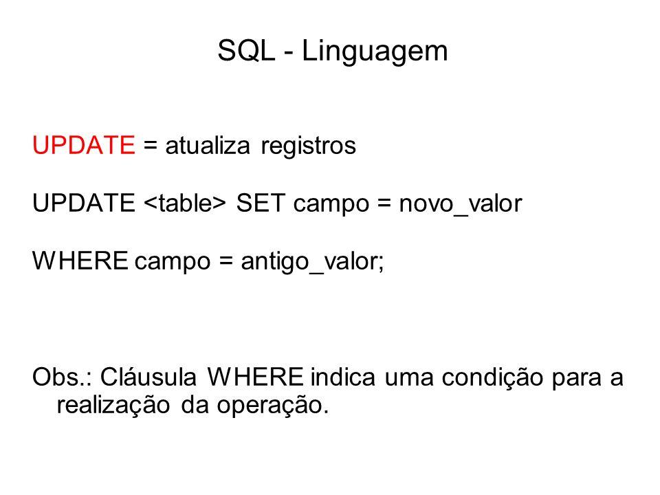 SQL - Linguagem UPDATE = atualiza registros
