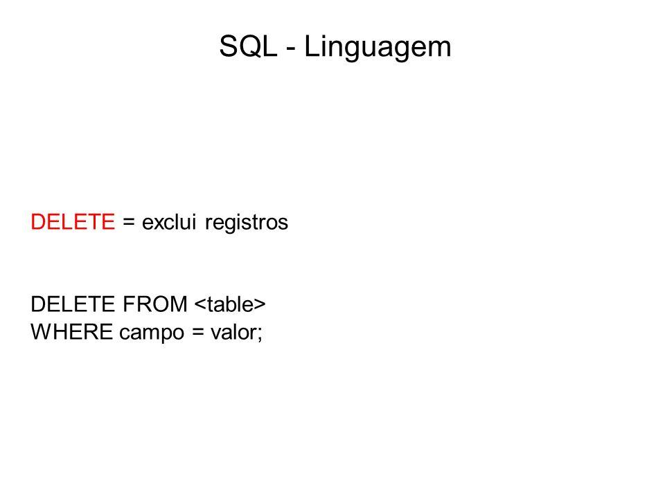 SQL - Linguagem DELETE = exclui registros DELETE FROM <table>