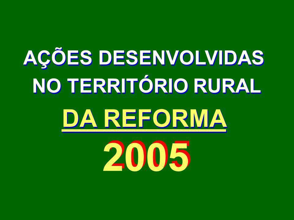 AÇÕES DESENVOLVIDAS NO TERRITÓRIO RURAL DA REFORMA 2005