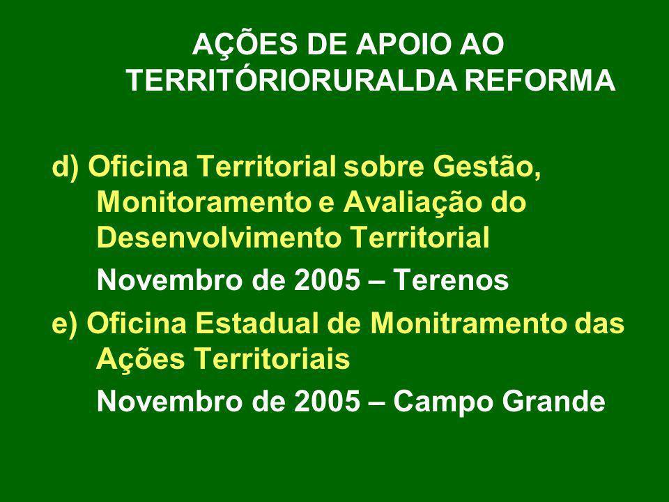 AÇÕES DE APOIO AO TERRITÓRIORURALDA REFORMA