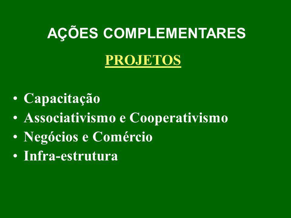 AÇÕES COMPLEMENTARES PROJETOS. Capacitação. Associativismo e Cooperativismo. Negócios e Comércio.