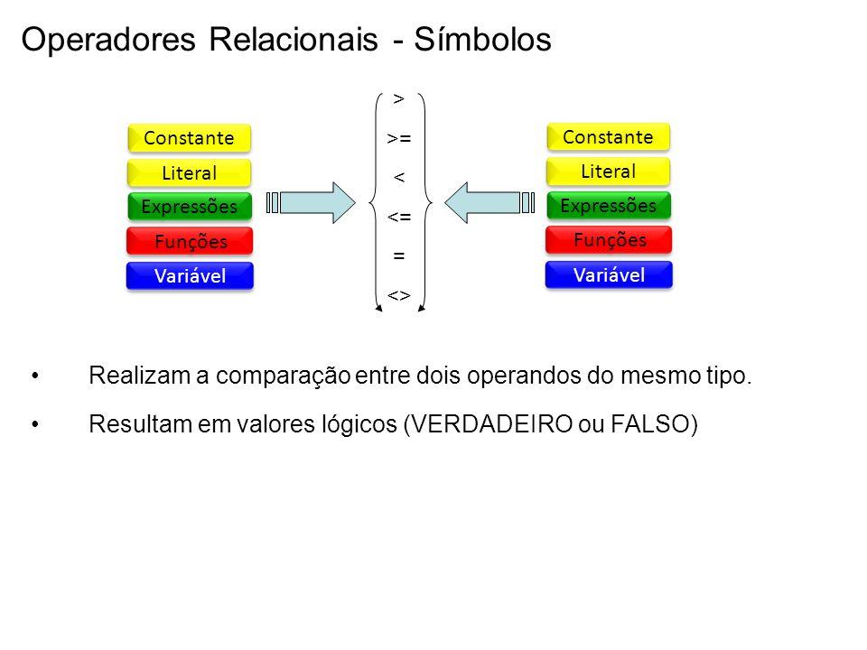 Operadores Relacionais - Símbolos