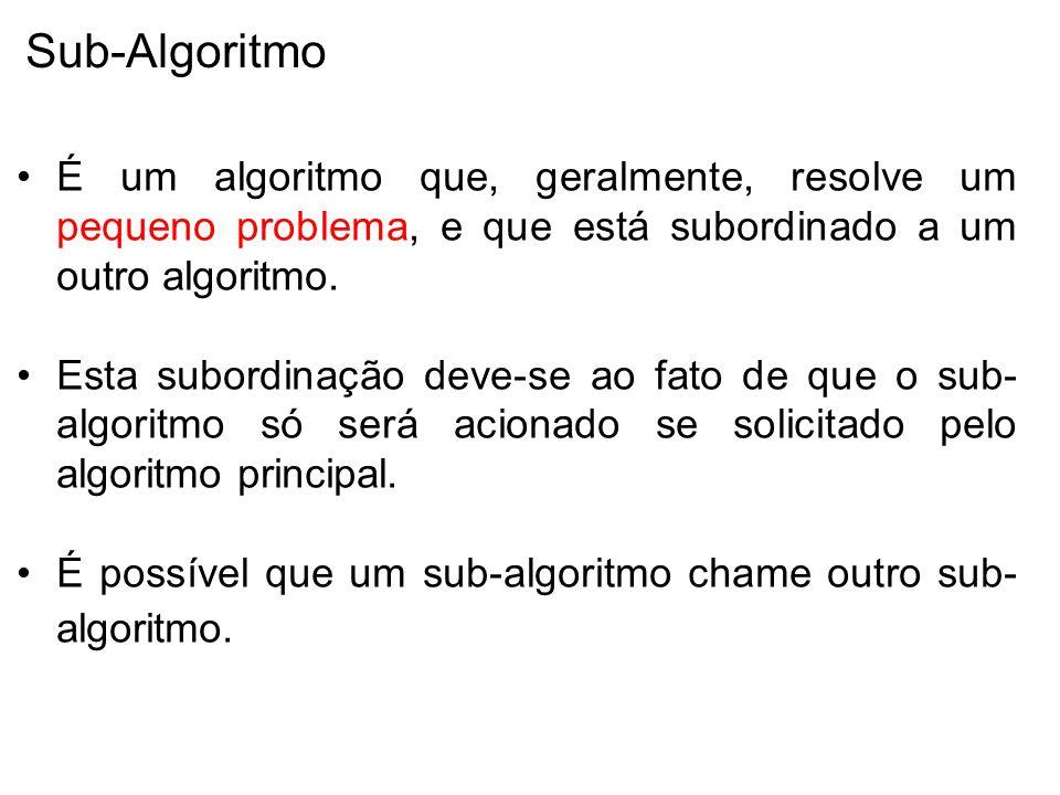 Sub-Algoritmo É um algoritmo que, geralmente, resolve um pequeno problema, e que está subordinado a um outro algoritmo.