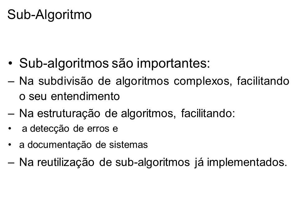 Sub-algoritmos são importantes: