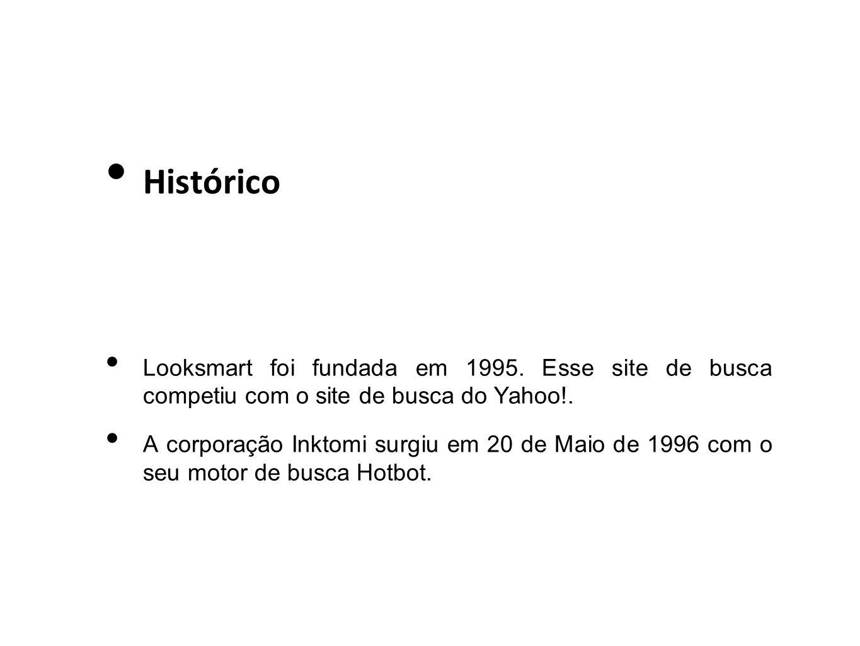 Histórico Looksmart foi fundada em 1995. Esse site de busca competiu com o site de busca do Yahoo!.