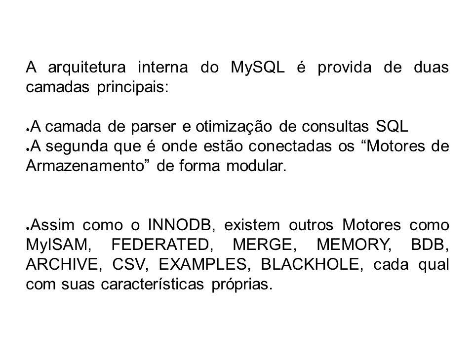 A arquitetura interna do MySQL é provida de duas camadas principais:
